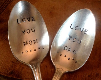 Mother's Day and Father's Day Gift, Vintage Silver Spoons, Anniversary Gift, Mom and Dad Gift, Stamped Vintage Spoons, Engraved