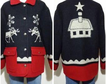 Wool coat, M, L, wool jacket, winter coat, fall coat, fall jacket, novelty coat, novelty jacket, reindeer jacket, snowflake sweater