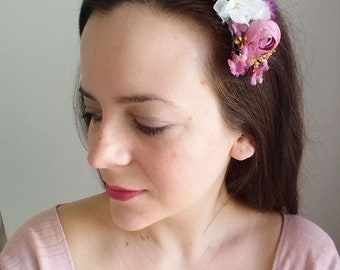 Hand made romantic hair comb, Gift for her, Floral decorative comb with White Cherry Blossom ''Florence''