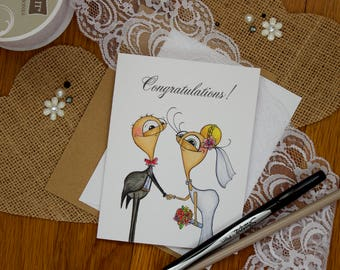 Bride & Groom Card, Congratulations Wedding Card, Perfect for Wedding, Bridal Shower, or Engagement Party
