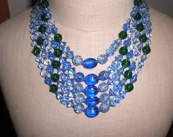 Vintage 1950s Western Germany Blue/Green Glass Necklace Multistrand Five Strands Ajustable
