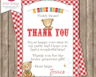Printable Teddy Bear's Picnic Thank You Card
