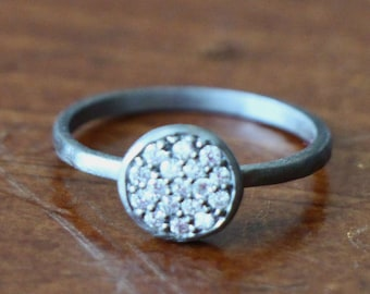 Circle Pave Sterling Silver CZ Stacking Ring, Mixed Metal Stacked Rings