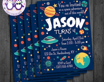 Outer Space Birthday Party Invitation, Planets, Spaceships, Stars