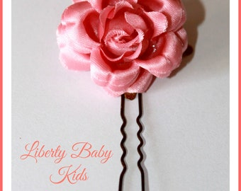 Pink Flower hairpins, communion hairpins, Girl flower hairpins, communion accessories,