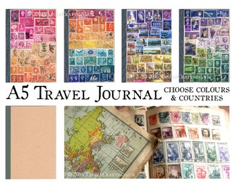 A5 Travel Journal Notebook - Choose Colours & Countries