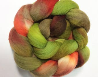 merino hand-dyed roving, kettle-dyed, combed top earthy greens, tans, rusts, 4 oz