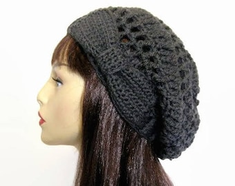 Dark Grey Hat with Bow Charcoal Crochet  Hat  slouch knit Beanie Slouchy Gray Crochet Hat with Bow Gray Slouchy Beanie Crochet Women's Hat