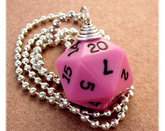Dungeons and Dragons - D20 Dice Pendant - Bubble Gum Pink - Geek Gamer DnD Role Playing RPG