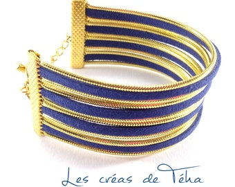 Very pretty dark blue and gold cuff