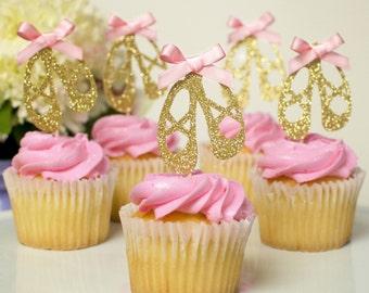 12 Ballerina Cupcake Toppers, ballerina shoes, ballerina slippers, ballerina cupcake toppers