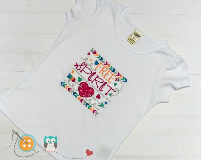 Free Spirit embroidered t shirt for girls - hearts and arrow embroidered details- cute tops for toddlers-