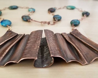 Foldformed copper necklace with Chrysocolla beads