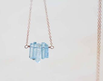 Aquamarine Crystal Necklace on Sterling Silver, Oxidized Silver or Rose Gold Filled Chain, Premium Raw Rough March Birthstone Jewelry