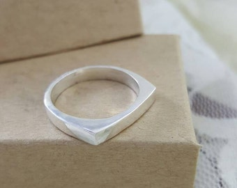 Thin Bar Ring in Sterling Silver, handmade silver stacking rings, thin band ring, unique silver ring, silver bar ring, square ring silver