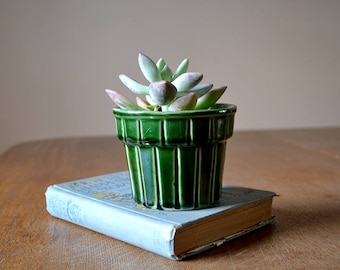 Small Emerald Green Ungemach UPCO Planter | 1960's | Stripes | Houseplant | Spring | St. Patrick's Decor
