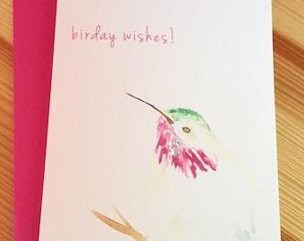 Hummingbird Birthday Card - Watercolor Bird Card - Happy Birday Hummingbird Card - Watercolor Bird Birthday Greeting Card