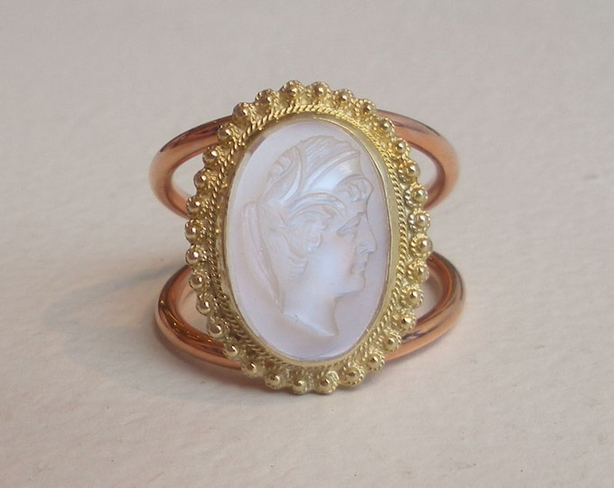 Featured listing image: Victorian Carved Moonstone Ring Intaglio Ring Cameo Ring 14k Yellow Gold Rose Gold Engagement Ring