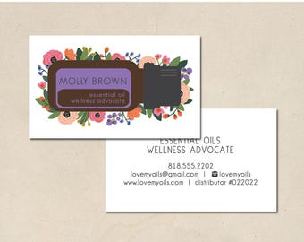 printable - essential oil cards - business cards - hand illustrated - calling cards - DIY- small business - EO - essential oil calling card