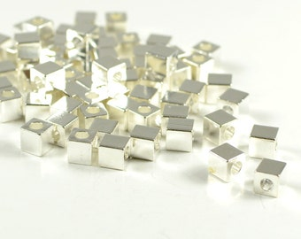 Silver Spacer Beads, 4mm, Tarnish Resistant Silver Plating, Lead Free, Solid Brass Bead, Large Hole Beads, 2mm, RETAIL-25 PCS/order