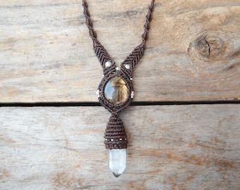 Labradorite & Clear Quartz Macrame Necklace.