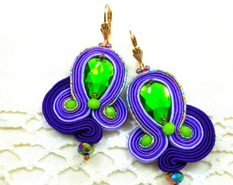 Soutache Earrings  ,soutache jewelry in ethnic, handmade earrings, colorful earrings, soutache,braid