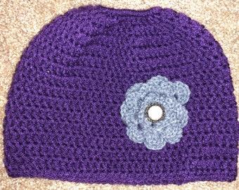 Purple Messy Bun Hat with Gray Flower