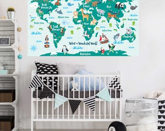 Wall decals by chromantics on etsy what a wonderful world map decal kids world map decal by chromantics gumiabroncs Image collections
