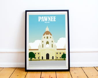 Pawnee City Hall Travel Poster - Pawnee Print - Pawnee Travel Poster - Leslie Knope - Parks and Rec - (Available In Many Sizes)