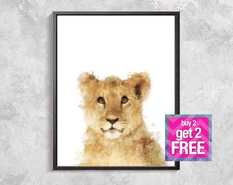 Lion Print, Baby Lion watercolor, Safari print, Wild Animal Decor, Safari Watercolor printable, Nursery animal decor, Safari art
