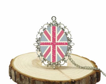 Retro British Flag Victorian Charming Women Necklace,Gemstone Domed Glass Cabochon Pendant Gifts for Her