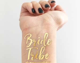 BRIDE TRIBE Metallic Gold Temporary Tattoos