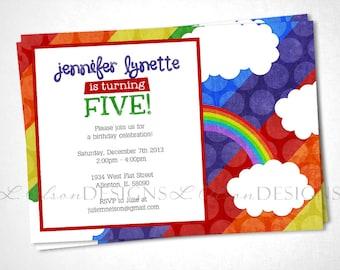 Birthday Invitation Rainbow Party Invite - DIY Printable