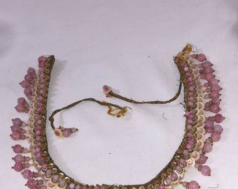 Antique Pink Beaded Choker Necklace