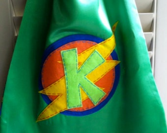 GREEN Superhero Cape- PERSONALIZE/CUSTOMIZE- Boys Superhero Costume -Choose the Initial - Superhero Birthday Party