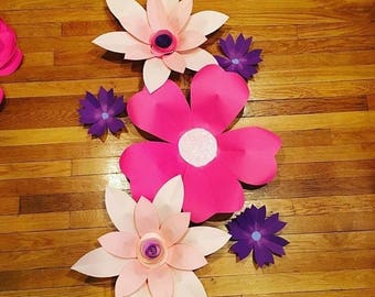 Large Paper Flowers - SET of 6 Paper flowers - Hawaiian theme - Spring THEME - butterflies - nursery decor - party decorations - wedding