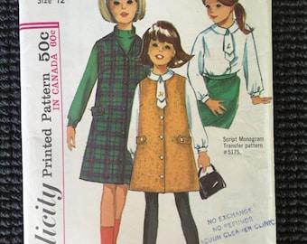 Vintage Simplicity 6155 Girls Jumper Blouse Sewing Pattern Size 12 UNCUT