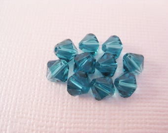 6mm Indicolite Blue Swarovski Crystal Bicone Beads (Package of 12)