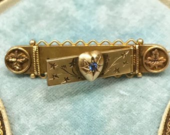 Antique Australian gold bar brooch with heart decoration and leaves, circa 1900