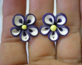 Play Earring - Clip - Flower - Purple/White - 3/4""