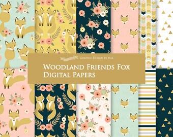 Fox Digital Paper, Flat Gold Fox, Woodland Friends, Fox Digital, Fox Digital Paper Pack - Instant Download - DP173