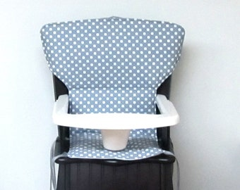 Newport chair replacement pad Eddie Bauer cushion, safety 1st wooden highchair cover, feeding chair pad, kids furniture, white dots on gray