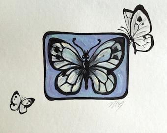 Carte de papillon peint main, original miniatures peinture, Winnie 3, vierge carte de voeux, carte d'insectes, carte vierge, carte, carte Merci