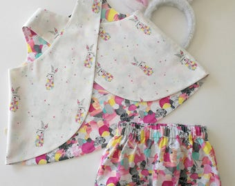 """Baby girl toddler """"Harlequin bunny Carnivale"""" reversible pinafore bloomers set, baby bunny outfit 2 piece outfit/photo prop"""
