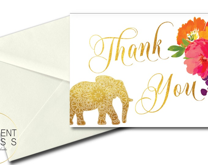 Indian Themed Thank You Card // Elephant Thank You // Folded Thank You // A7 // Gold // flowers // Printed // JAIPUR COLLECTION