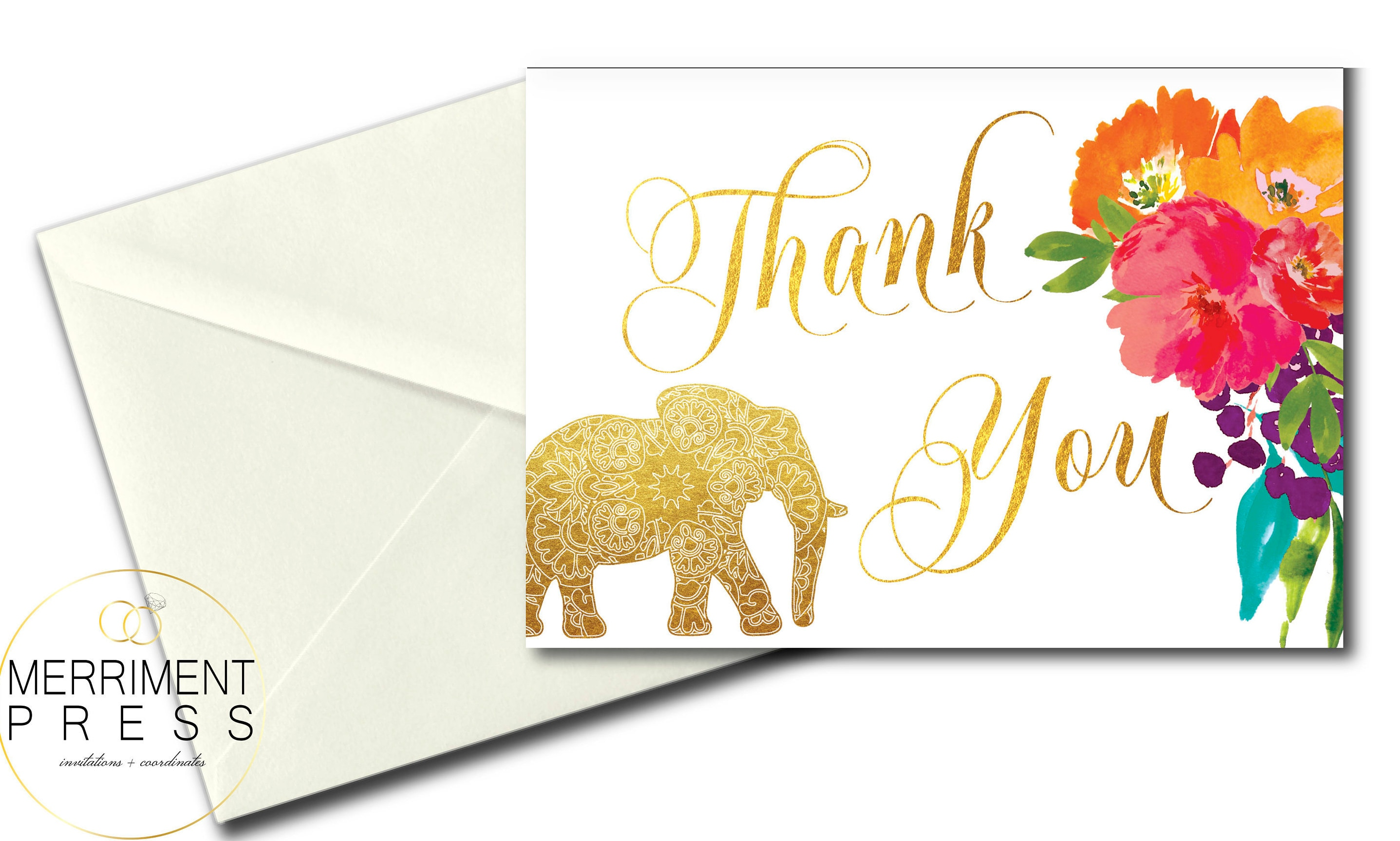 Indian themed thank you card elephant thank you folded thank indian themed thank you card elephant thank you folded thank you a7 gold flowers printed jaipur collection kristyandbryce Gallery