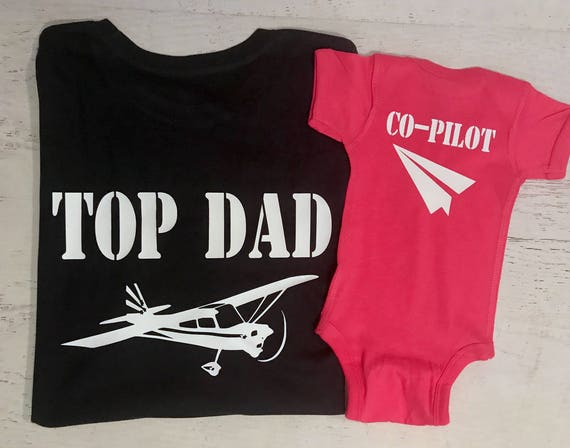 Top Dad and Co-Pilot Silver Metallic Style Aviator Sunglasses on Front Pilot and Co-Pilot with Planes and Paper Airplane on Back