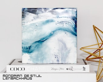 """Abstract """"Waves in Tune 1"""" Encaustic Painting on cradled board, Modern Art Original painting with Indigo blue"""