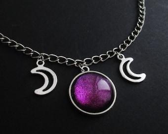 triple moon choker, moon necklace, pastel goth, nu goth, grunge jewelry