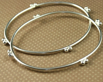 Pair of Double Dot Bangle Bracelets in Sterling Silver